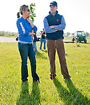 Trainer Graham Motion and his wife Anita at the Fair Hill Training Center on May 11, 2011 in Fair Hill, Maryland.