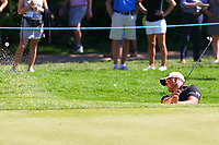 Zander Lombard chips out of a bunker on the 16th green during the BMW PGA Golf Championship at Wentworth Golf Course, Wentworth Drive, Virginia Water, England on 26 May 2017. Photo by Steve McCarthy/PRiME Media Images.