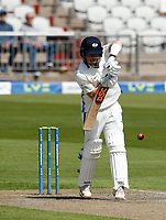 27th May 2021; Emirates Old Trafford, Manchester, Lancashire, England; County Championship Cricket, Lancashire versus Yorkshire, Day 1; Dom Bessof Yorkshire defends against a rising ball off Tom Bailey of Lancashire