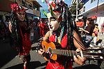 Neighbors wearing devil maks dance during the Porrazo del Tigre parade in the main streets of Chilpancingo, in soutern state of Guerrero, December 21, 2008. Photo by Heriberto Rodriguez