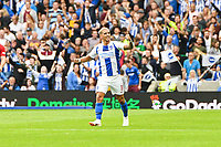 Anthony Knockaert of Brighton & Hove Albion (11) Celebrates  during the Premier League match between Brighton and Hove Albion and Manchester United at the American Express Community Stadium, Brighton and Hove, England on 19 August 2018. Photo by Edward Thomas / PRiME Media Images.