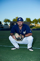 AZL Brewers Johan Mojica (43) poses for a photo before a game against the AZL Cubs on August 24, 2017 at Maryvale Baseball Park in Phoenix, Arizona. AZL Cubs defeated the AZL Brewers 9-1. (Zachary Lucy/Four Seam Images)