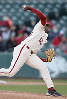 Arkansas reliever Gabriel Starks delivers to the plate Wednesday, April 7, 2021, during the eighth inning of the Razorbacks' 10-3 win over UALR at Baum-Walker Stadium in Fayetteville. Visit nwaonline.com/210408Daily/ for today's photo gallery. <br /> (NWA Democrat-Gazette/Andy Shupe)