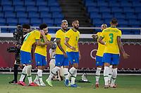 22nd July 2021; Stadium Yokohama, Yokohama, Japan; Tokyo 2020 Olympic Games, Brazil versus Germany; Richarlison of Brazil celebrates his goal in the 21st minute for 2-0