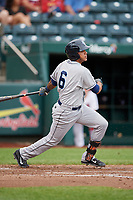 Corpus Christi Hooks second baseman Arturo Michelena (6) follows through on a swing during a game against the Springfield Cardinals on May 31, 2017 at Hammons Field in Springfield, Missouri.  Springfield defeated Corpus Christi 5-4.  (Mike Janes/Four Seam Images)