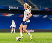 LE HAVRE, FRANCE - APRIL 13: Lindsey Horan #9 of the USWNT dribbles during a game between France and USWNT at Stade Oceane on April 13, 2021 in Le Havre, France.
