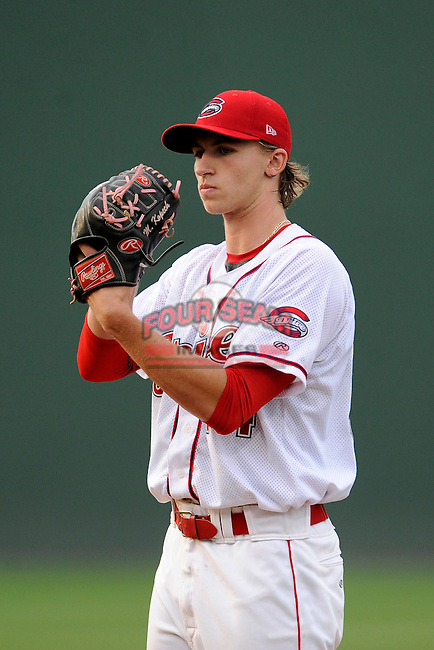 Pitcher Michael Kopech (34) of the Greenville Drive in a game against the Savannah Sand Gnats on Thursday, May 7, 2015, at Fluor Field at the West End in Greenville, South Carolina. Kopech was a first-round pick of the Boston Red Sox in the 2014 First-Year Player Draft. Savannah won in 11, 7-5. (Tom Priddy/Four Seam Images)