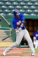 Jeremy Barfield (40) of the Midland RockHounds swings at a pitch during a game against the Springfield Cardinals on April 19, 2011 at Hammons Field in Springfield, Missouri.  Photo By David Welker/Four Seam Images
