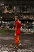 Monks and novices on the northen bank of the Mekong river<br /> , Luang Prabang, Laos.