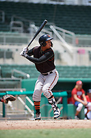 GCL Orioles right fielder Davis Tavarez (3) at bat during a game against the GCL Red Sox on August 9, 2018 at JetBlue Park in Fort Myers, Florida.  GCL Red Sox defeated GCL Orioles 10-4.  (Mike Janes/Four Seam Images)