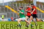 Darragh Slattery, Ballyduff, in action against Jimmy O'Halloran, Ballyheigue, during the Kerry County Minor Hurling Championship Final match between Ballyduff and Ballyheigue at Austin Stack Park in Tralee, Kerry.