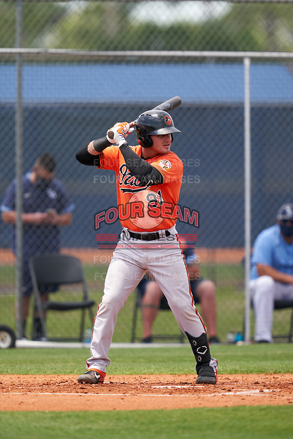 Baltimore Orioles Joseph Ortiz (91) bats during a Minor League Spring Training game against the Tampa Bay Rays on April 23, 2021 at Charlotte Sports Park in Port Charlotte, Florida.  (Mike Janes/Four Seam Images)