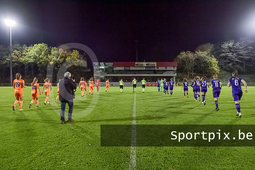 the playes entering the field before a female soccer game between RSC Anderlecht Dames and AA Gent Ladies on the seventh matchday of the 2020 - 2021 season of Belgian Womens Super League , friday 13 th of November 2020  in Overijse , Belgium . PHOTO SPORTPIX.BE | SPP | STIJN AUDOOREN
