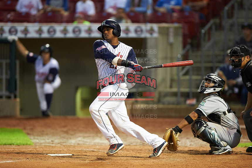 Cedar Rapids Kernels catcher Brian Navarreto (21) at bat in front of catcher Michael Perez during a game against the Kane County Cougars on August 18, 2015 at Perfect Game Field in Cedar Rapids, Iowa.  Kane County defeated Cedar Rapids 1-0.  (Mike Janes/Four Seam Images)