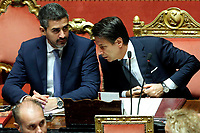 Riccardo Fraccaro minister for the relationships with parliament and Premier Giuseppe Conte <br /> Roma 12/09/2018. Senato. Informativa sulla Nave Diciotti<br /> Rome September 12th 2018. Senate. Speech of the Italian Premier about the Diciotti ship, carrying 177 migrants, rejected by Italy.<br /> Foto Samantha Zucchi Insidefoto