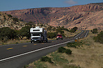 Camper pulling trailer on Highway 160, Kayenta, Arizona, Grand Canyon entrance, . John offers private photo tours in Grand Canyon National Park and throughout Arizona, Utah and Colorado. Year-round.