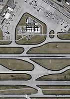 aerial photograph of fuel storage tanks, runways and taxiways at the Hartsfield Jackson Atlanta International airport (ATL), Georgia