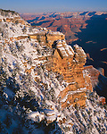 Grand Canyon National Park, AZ   <br /> Morning light on canyon walls with fresh snow at Mather Point, South Rim