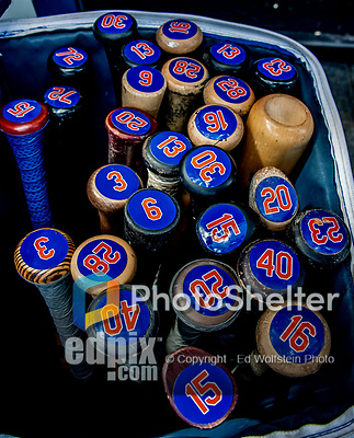 7 March 2019: A gear bag full of Mets Bats is ready to be sorted prior to a Spring Training matchup between the New York Mets and the Washington Nationals at the Ballpark of the Palm Beaches in West Palm Beach, Florida. The Nationals defeated the visiting Mets 6-4 in Grapefruit League, pre-season play. Mandatory Credit: Ed Wolfstein Photo *** RAW (NEF) Image File Available ***