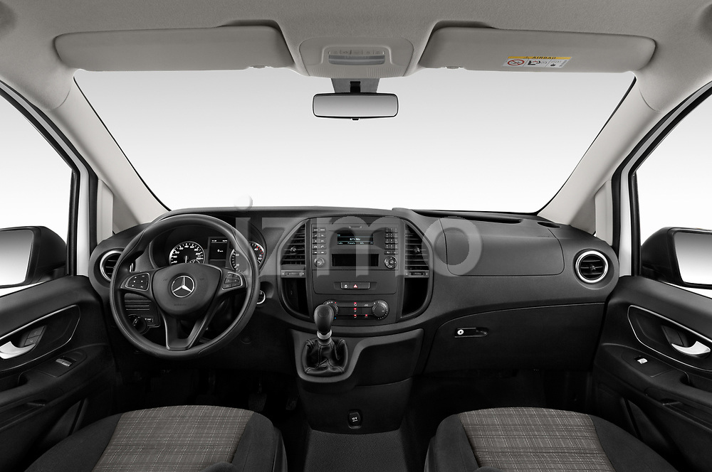 Stock photo of straight dashboard view of a 2019 Mercedes Benz Vito Base 4 Door Cargo Van