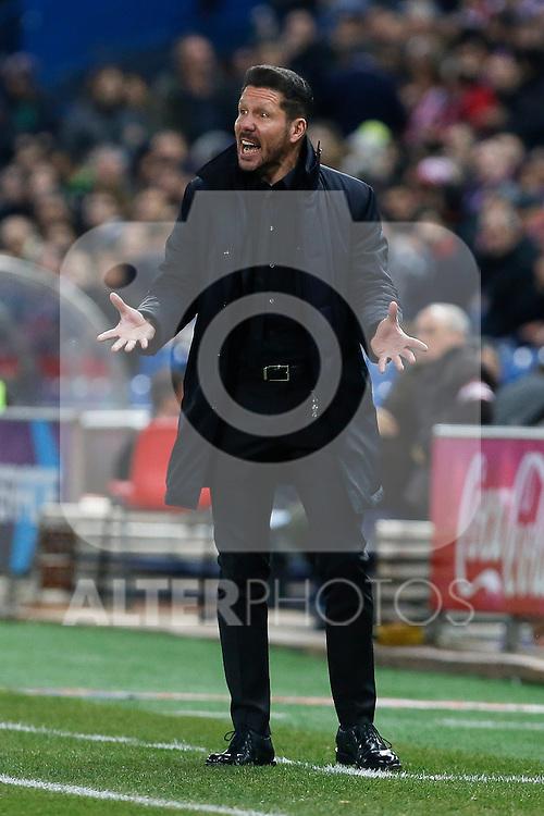 Atletico de Madrid´s coach Diego Pablo Simeone during 2015-16 La Liga match between Atletico de Madrid and Deportivo de la Coruna at Vicente Calderon stadium in Madrid, Spain. March 12, 2016. (ALTERPHOTOS/Victor Blanco)