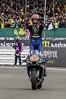 29th August 2021; Silverstone Circuit, Silverstone, Northamptonshire, England; MotoGP British Grand Prix, Race Day; Monster Energy Yamaha MotoGP rider Fabio Quartararo on his Yamaha YZR-M1 celebrates winning the British Grand Prix