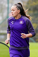 Tine De Caigny (6 Anderlecht)  pictured during the warm up before a female soccer game between Standard Femina de Liege and RSC Anderlecht on the 9th matchday of the 2020 - 2021 season of Belgian Scooore Womens Super League , saturday 12 th of December 2020  in Angleur , Belgium . PHOTO SPORTPIX.BE   SPP   SEVIL OKTEM