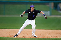 Niagara University Purple Eagles Tanner Kirwer (9) leads off first base during a game against the Ohio State Buckeyes on February 20, 2016 at Holman Stadium at Historic Dodgertown in Vero Beach, Florida.  Ohio State defeated Niagara 10-7.  (Mike Janes/Four Seam Images)