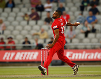 9th July 2021; Emirates Old Trafford, Manchester, Lancashire, England; T20 Vitality Blast Cricket, Lancashire Lightning versus Northamptonshire Steelbacks; Liam Hurt of Lancashire Lightning Lightning bowls from the James Anderson End and ended with figures of 3-22
