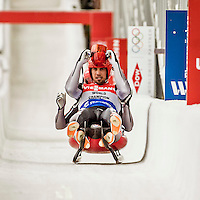 4 December 2015: Tobias Wendl and Tobias Arlt, sliding for Germany, cross the finish line after their second run, finishing 8th for the day with a combined time of 1:28.687 in the Doubles Competition of the Viessmann Luge World Cup at the Olympic Sports Track in Lake Placid, New York, USA. Mandatory Credit: Ed Wolfstein Photo *** RAW (NEF) Image File Available ***