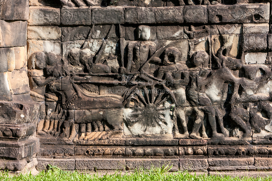 Cambodia, Angkor Thom.  Horse-drawn Cart and Soldiers going into Battle.