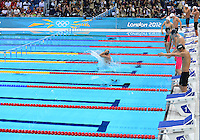 August 01, 2012..Swimmers enter the pool to compete in Men's 200m Backstroke Semifinal at the Aquatics Center on day five of 2012 Olympic Games in London, United Kingdom.
