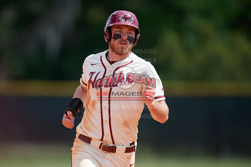 Saint Joseph's Hawks third baseman Nate Thomas (11) running the bases during a game against the Ball State Cardinals on March 9, 2019 at North Charlotte Regional Park in Port Charlotte, Florida.  Ball State defeated Saint Joseph's 7-5.  (Mike Janes/Four Seam Images)