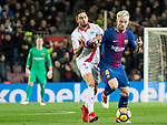 Ivan Rakitic (R) of FC Barcelona fights for the ball with Ruben Sobrino Pozuelo of Deportivo Alaves during the La Liga 2017-18 match between FC Barcelona and Deportivo Alaves at Camp Nou on 28 January 2018 in Barcelona, Spain. Photo by Vicens Gimenez / Power Sport Images