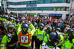 © Joel Goodman - 07973 332324 . 24/04/2011 . Brighton , UK . Hundreds of police are deployed . Nationalist street movement March for England holds a march and rally in Brighton , opposed by antifascists . Photo credit : Joel Goodman