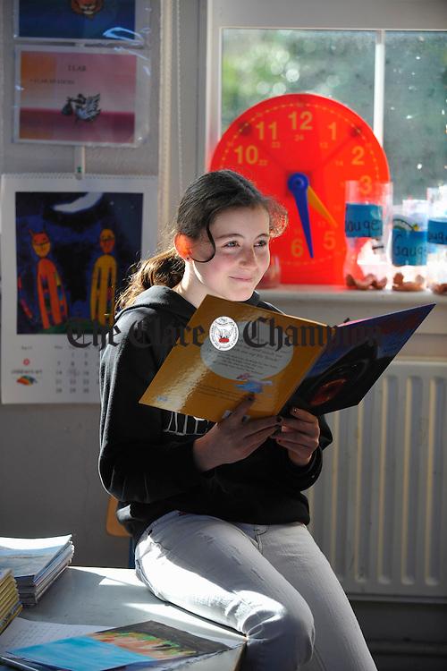 Tanya Rochford reading at Dangan NS. Photograph by John Kelly.