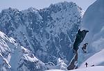Alaska, Backcountry telemark skiing, Ruth Glacier, Don Sheldon Ampitheatre, Alaska Range, Alaska, U.S.A., North America, .