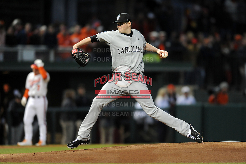 South Carolina Gamecocks starting pitcher Jordan Montgomery #34 delivers a pitch during a game against the Clemson Tigers at Doug Kingsmore Stadium on March 1, 2013 in Clemson, South Carolina. The Gamecocks won 6-0.(Tony Farlow/Four Seam Images).