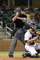 Home plate umpire Jeff Morrow during an Arizona Fall League game between the Salt River Rafters and Surprise Saguaros on October 15, 2013 at Salt River Fields at Talking Stick in Scottsdale, Arizona.  Surprise defeated Salt River 9-2.  (Mike Janes/Four Seam Images)