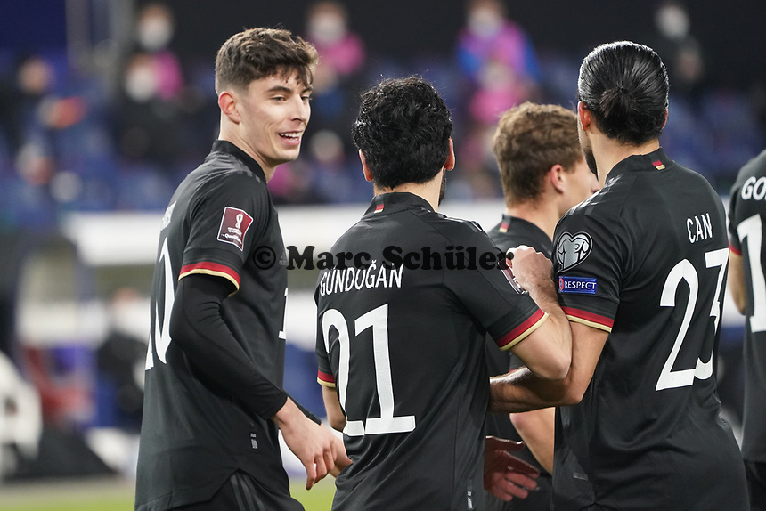 celebrate the goal, Torjubel zum 2:0 um Kai Havertz (Deutschland, Germany) mit Ilkay Guendogan (Deutschland Germany), Emre Can (Deutschland Germany)) - 25.03.2021: WM-Qualifikationsspiel Deutschland gegen Island, Schauinsland Arena Duisburg