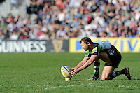 Nick Evans of Harlequins lines up another kick during the Aviva Premiership match between Harlequins and Bath Rugby at The Twickenham Stoop on Saturday 24th March 2012 (Photo by Rob Munro)
