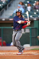 Lehigh Valley IronPigs second baseman Emmanuel Burriss (9) at bat during a game against the Buffalo Bisons on July 9, 2016 at Coca-Cola Field in Buffalo, New York.  Lehigh Valley defeated Buffalo 9-1 in a rain shortened game.  (Mike Janes/Four Seam Images)