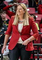 COLLEGE PARK, MD - JANUARY 26: Brenda Frese head coach of Maryland grimaces at  bad play during a game between Northwestern and Maryland at Xfinity Center on January 26, 2020 in College Park, Maryland.