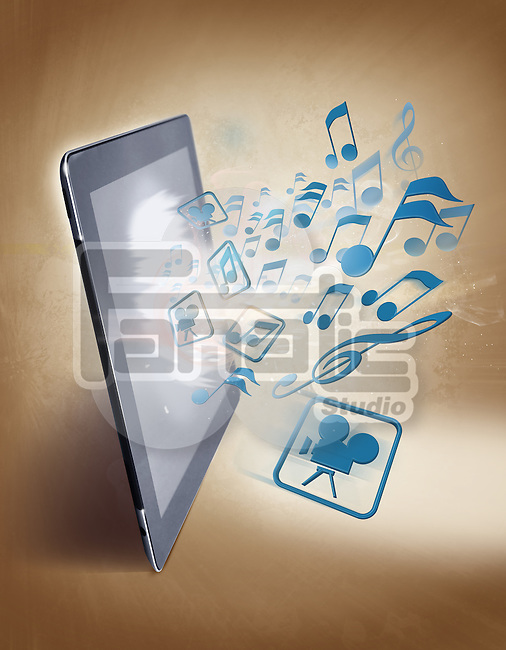 Illustrative image of musical notes and digital table representing uploading and downloading of music