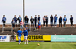 Arbroath v St Johnstone…15.08.21  Gayfield Park      Premier Sports Cup<br />St Johnstone fans watchthe players during the warm-up<br />Picture by Graeme Hart.<br />Copyright Perthshire Picture Agency<br />Tel: 01738 623350  Mobile: 07990 594431
