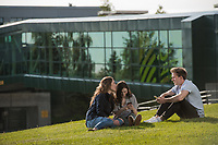 UAA students Abbie Lampman, Maile Johnston, and Daniel Ogden, photograped on campus for UAA's new WolfTracks App.