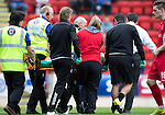 St Johnstone v Stirling Albion…30.07.16  McDiarmid Park. Betfred Cup<br />Keeper Chris Smith is strechered off after falling badly<br />Picture by Graeme Hart.<br />Copyright Perthshire Picture Agency<br />Tel: 01738 623350  Mobile: 07990 594431