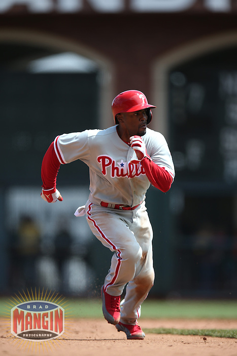 SAN FRANCISCO, CA - MAY 8:  Jimmy Rollins #11 of the Philadelphia Phillies runs the bases against the San Francisco Giants during the game at AT&T Park on Wednesday, May 8, 2013 in San Francisco, California. Photo by Brad Mangin