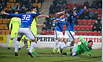 St Johnstone v Hibernian…27.02.19…  McDiarmid Park    SPFL<br />Chris Kane celebrates his goal with Murray Davidson and Tony Watt<br />Picture by Graeme Hart. <br />Copyright Perthshire Picture Agency<br />Tel: 01738 623350  Mobile: 07990 594431