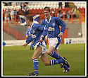 5/10/02       Copyright Pic : James Stewart                     .File Name : stewart-hamilton v stranraer 03.AKAN JENKINS RUN TO CONGRATULATE KEVIN FINLAYSON AFTER HE SCORES THE FOURTH FOR STRANRAER....James Stewart Photo Agency, 19 Carronlea Drive, Falkirk. FK2 8DN      Vat Reg No. 607 6932 25.Office : +44 (0)1324 570906     .Mobile : + 44 (0)7721 416997.Fax     :  +44 (0)1324 570906.E-mail : jim@jspa.co.uk.If you require further information then contact Jim Stewart on any of the numbers above.........